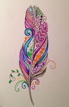 Feather tattoo design by Dina Verplank fireflytattoo.com #Paisley #Paisley Pattern
