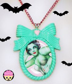 Aqua Pink Zombie Pinup Cameo Necklace by Pinkspiderwebs on Etsy,