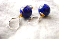 Lapis Lazuli Earrings Silver and Gold Filled AAA Lapis Lazuli from Afghanistan from Resa Wilkinson Jewelry