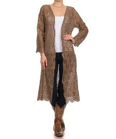 Look at this L & B Mocha Crochet Duster - Women & Plus on #zulily today!