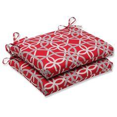 Amazon.com - Pillow Perfect Outdoor Keene Cherry Squared Corners Seat Cushion, Set of 2 -