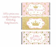 Princess Candy Bar Wrapper, Little Princess Candy Bar Wrappers, Pink and gold candy wrappers, Baby Candy Bar Covers, Silver Wedding Decorations, Personalized Candy Bars, Baby Candy, Gold Candy, Types Of Candy, Pink And Gold Wedding, Gold Bridal Showers, Baby Shower Princess