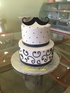 Mustache birthday cake. Visit us Facebook.com/marissa'scake or www.marissascake.com
