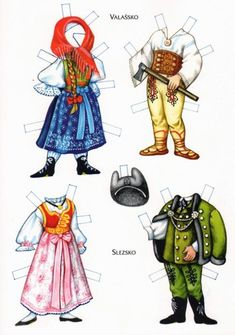 Czech paper dolls: Valassko and Slezsko Paper Toys, Paper Crafts, Usa Culture, Paper Dolls Printable, Dress Up Dolls, Thinking Day, Vintage Paper Dolls, Retro Toys, Art Pages