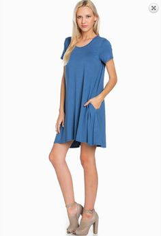 Solid Short Sleeve Tee Dress - Denim – Rebecca's of Clinton