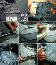 Latest Photos How To Repair Holes in Jeans - AllDayChic Strategies I love Jeans ! And much more I love to sew my own personal Jeans. Next Jeans Sew Along I am likely Sewing Jeans, Sewing Clothes, Diy Clothes, Sewing Hacks, Sewing Tutorials, Sewing Projects, Sewing Tips, How To Patch Jeans, Repair Jeans