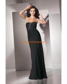 Boutique robe simple sans bretelle noire décorée de cristaux mousseline robe de soirée 2013