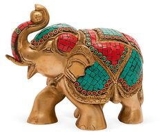 """One Kings Lane - HGTV: Layer in Texture - 7"""" Brass and Stones Elephant.  So Colorful!"""