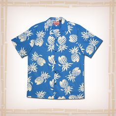 """FREE SHIPPING – EVERY ORDER, EVERY DAY! RJC Hawaiian Shirt """"Pineapples"""" – Blue  RJC's contribution to the retro / vintage Hawaiian shirt reproduction craze. This design was featured in the film """"From Here to Eternity"""" worn by actor Ernest Borgnine. The design was also made famous in the 1940's by actor Tony Curtis. Coconut shell buttons and matching print engineered chest pocket.  100% Cotton, Made In Hawaii http://hawaiianshirtdude.com/product/rjc-hawaiian-shirt-pineapples-blue/"""