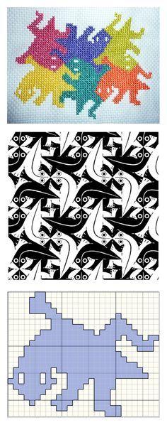 Escher lizards - Dorothea - cross stitch pattern