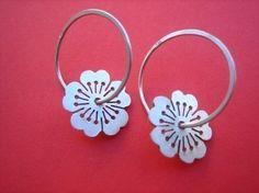 Sterling silver sakura earrings by Ceeb Wassermann