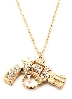embellished pistol necklace