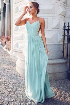 Sexy Prom Dress, Green Prom Dresses, Long Evening Dresses, Chiffon Party Dresses, Open Back Formal Dresses