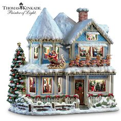 "Thomas Kinkade 'Twas The Night Before Christmas Story House. The voice of Thomas Kinkade narrates ""The Night Before Christmas"". Rooms light up as Thom READS ""'Twas The Night Before Christmas"". Christmas Story House, Christmas Poems, Christmas Party Games, Christmas Gifts For Women, Outdoor Christmas Decorations, Christmas Time, Christmas Ornaments, White Christmas, Christmas Mantles"