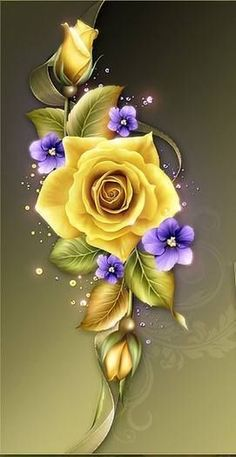 Moonbeam's Yellow Roses & Violets, is a digitally painted yellow roses design resource rendered in warm summer hues and complete with tiny violets. Beautiful Flowers Wallpapers, Beautiful Rose Flowers, Beautiful Nature Wallpaper, Pretty Wallpapers, Rose Flower Wallpaper, Butterfly Wallpaper, Roses And Violets, Rose Art, Arte Floral
