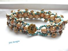 Swarovski Vintage Gold Pearl and Turquoise Beaded Handmade Bracelet | jnldesigns - Jewelry on ArtFire