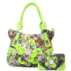 Western Green Camouflage Flower Rhinestone Purse W Matching Wallet In Stock: $62.99