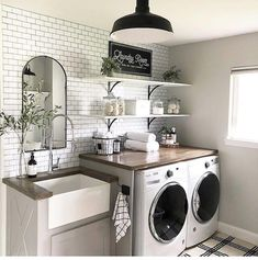 A dream laundry room makeover - We all dream of the perfect projects .- A dream laundry room makeover – We all dream of realizing the perfect home remodeling projects – no matter – - Laundry Room Remodel, Laundry In Bathroom, Laundry Decor, Small Laundry Rooms, Remodel Bathroom, Mudroom Laundry Room, Laundry Room Makeovers, Vintage Laundry Rooms, Laundry Room Shelving