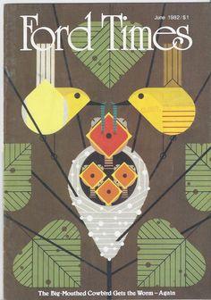 *Charley Harper cover illustration for Ford Times, Modern Graphic Design, Graphic Design Illustration, Illustration Art, Charley Harper, Bird Quilt, Bird Art, Art Lessons, Art Drawings, Family Circle
