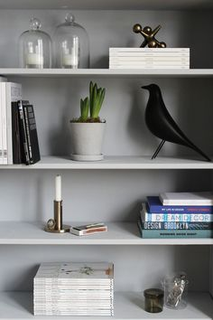The Vitra Eames House Bird is now perfectly at home on the bookcase, painted in Little Greene's Gauze Deep. Cosy Living Room Decor, Living Room Shelves, Living Room Grey, Interior Design Living Room, Living Room Designs, Living Room Inspiration, Interior Inspiration, Monochrome Interior, Bohemian Interior