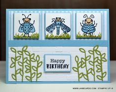 Wiggle Worm Bugs Birthday Card - JanB Cards Birthday Cards, Happy Birthday, The Wiggles, Ink Pads, Embossing Folder, Kids Cards, Worms, Stampin Up Cards, Gift Bags