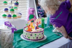 Blowing out candles - Barney cake Barney Cake, Barney Party, Barney Birthday, 2nd Birthday Parties, Birthday Cake, Barney & Friends, Birthdays, Printables, Party Ideas