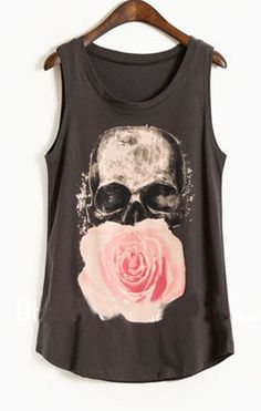 Navy Paintily Skull and Rose Print Sleeveless Tank Top (a favourite gothic punk clothes repin of VIP Fashion Australia )