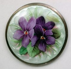 Antique Sterling Silver Button Basse Taille w HndPaint Violets Hallmarked 1&1/8""