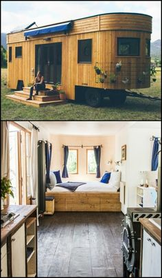 This lovely Wohnwagon was designed and built to be off-grid, sustainable and delightful to live in!