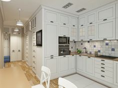The design of the apartment in Provence style allows you to make it cozy, relaxed, simple, without unnecessary pretentiousness. In such a house you feel easy, you don't want to leave here. Kitchen Dining, Kitchen Cabinets, Dining Room, Provence Style, Bright Rooms, Girl House, Built In Wardrobe, Lounge Areas, Apartment Design