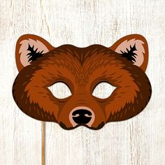 Bear Printable Mask Grizzly Bears Brown DIY di LMEprintables