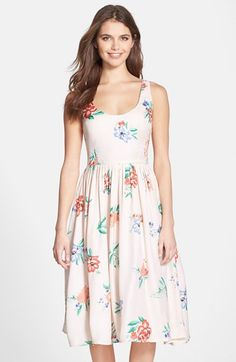 BB Dakota 'Heleen' Floral Print Fit & Flare Midi Dress available at #Nordstrom