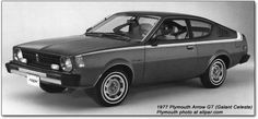 The 1977 Plymouth Arrow was imported by Mitsubishi.