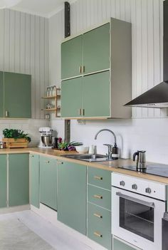 Sage Kitchen, Green Kitchen Cabinets, Condo Kitchen, Kitchen Dinning, Kitchen Decor, Kitchen Design, Plywood Kitchen, Apartment Renovation, Updated Kitchen