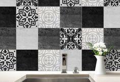 Adesivi murali - Adesivi perpiastrelle - Patchwork nero e bianco