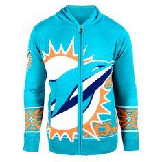 Miami Dolphins Klew Big Logo Full-Zip Hoodie - Aqua - $67.44