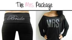 MRS off the shoulder and Bride Yoga Pants Package. Bride Pants. Bride MRS Off-Shoulder. Bride Sweatsuit. MRS Pants. Honeymoon. Bride Gift. by BrideBikini on Etsy https://www.etsy.com/listing/162393349/mrs-off-the-shoulder-and-bride-yoga