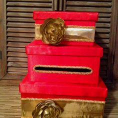 DIY Card Box - red and gold themed wedding