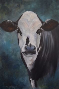 Animal Oil Painting, Ellie Mae, Black and White Cow, 20x30 Canvas Original by Cheri Wollenberg by OilPaintingsByCheri on Etsy