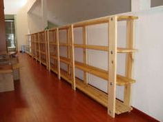 Inexpensive bookshelves @Misty Schroeder Schroeder Schroeder Como  Basement storage.