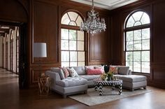 Commodore Perry Estate - Light Sofa, Dark Panelled Walls