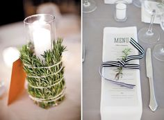 decorating with nature (links to other ideas too) Use rosemary to wrap a plain candle--or tuck a sprig into the ribbon on a place setting Creative Inspiration, Interior Inspiration, Wedding Inspiration, Wedding Table Settings, Place Settings, Graduation Theme, Nature Decor, Decoration Table, Rustic Wedding