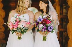 Pink and Purple Bridal Bouquets. Pinned by Afloral.com from http://www.weddingchicks.com/2015/02/10/pink-and-purple-glamping-wedding/ ~Feeling inspired by these gorgeous bouquets? Think about recreating this look with faux flowers from Afloral.com. The price is right and they will create a beautiful keepsake.