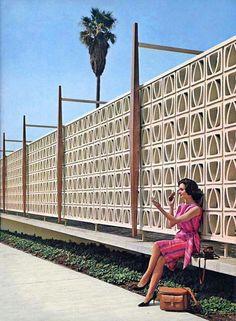 "Modern Charlotte - retro decorative concrete blocks ""breeze blocks"" or ""screen blocks"" Decorative Cinder Blocks, Breeze Block Wall, Googie, Mid Century House, Mid Century Modern Design, Arches, Midcentury Modern, Geek Decor, Outdoor Living"