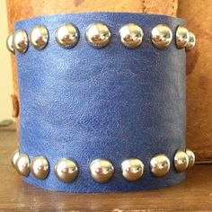 periwinkle LEATHER CUFF bracelet with dome studs by whackytacky, $39.99