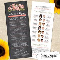 Rustic Sara Wedding Program with Cartoon Illustration by YellowBrickGraphics, $40 for a digital file