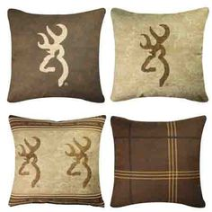 Browning Buckmark logo pillows for the deer hunters cabin, hunting lodge or…