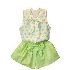 81de4e9b8 Amazon.com  FEITONG Kids Girls Rabbit Bow Pattern Shirt Top Polka Dot Skirt  (2-3 Years
