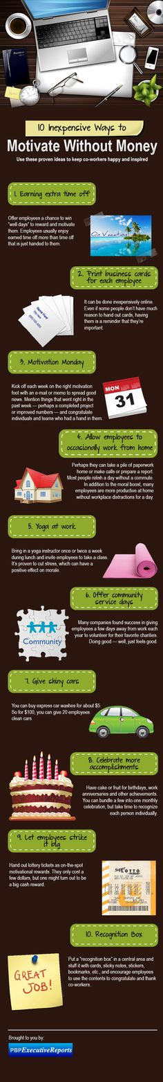 Infographic: 10 inexpensive ways to motivate employees - I like the car wash and business card options myself.