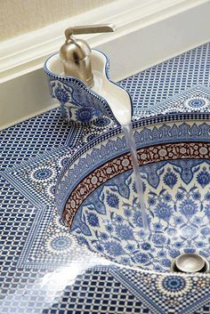 Blue and White Mosaic Bathroom Sink Delft, Mosaic Bathroom, Moroccan Bathroom, Bathroom Basin, Washroom, White Bathroom, Cloakroom Sink, Kohler Sink, Neutral Bathroom
